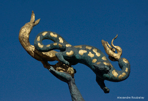 salamandre à l'entrée du musée de Sologne à Romorantin Lanthenay