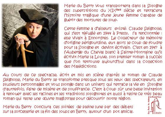 Marie La Louve en nocturne au château de la Grand'Cour en Berry