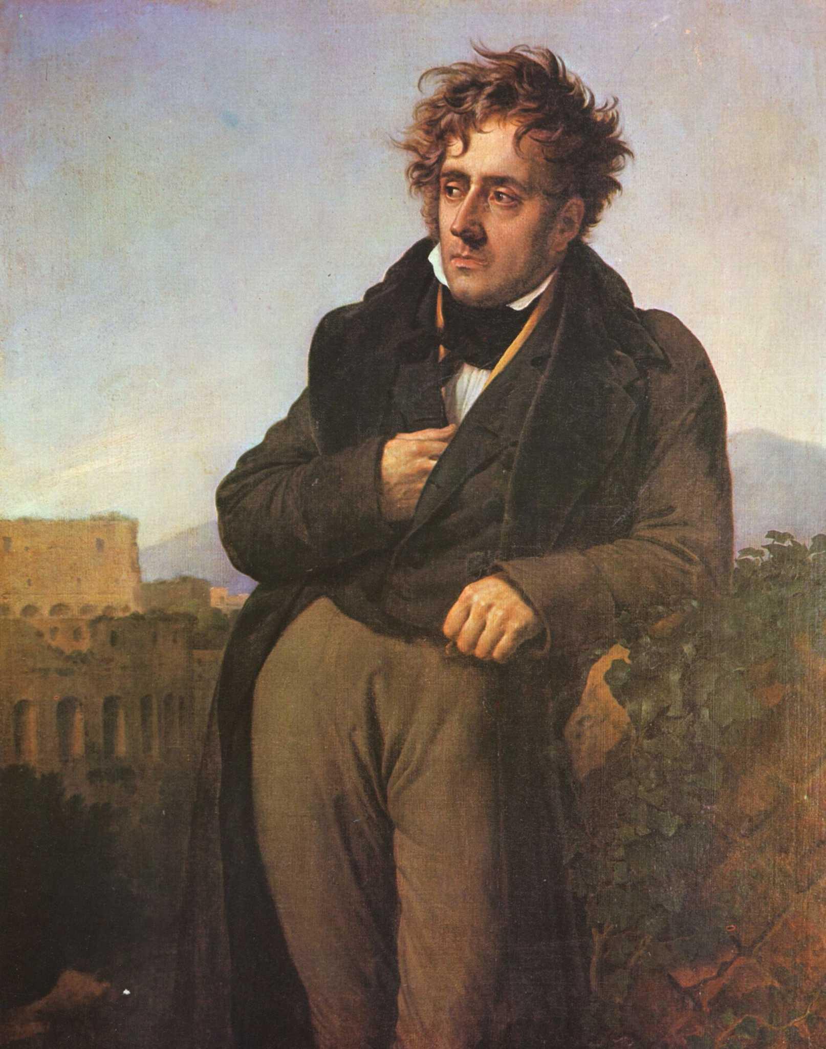 Portrait de Chateaubriand méditant sur les ruines de Rome par Anne-Louis Girodet de Roussy-Trioson vers 1809 Musée d'Histoire de la Ville et du Pays Malouin