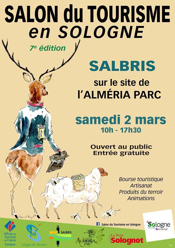 Affiche SALON du TOURISME en SOLOGNE - SALBRIS - Alméria Parc - samedi 2 mars 2019 - Aquarelle de Marguerite Breguet