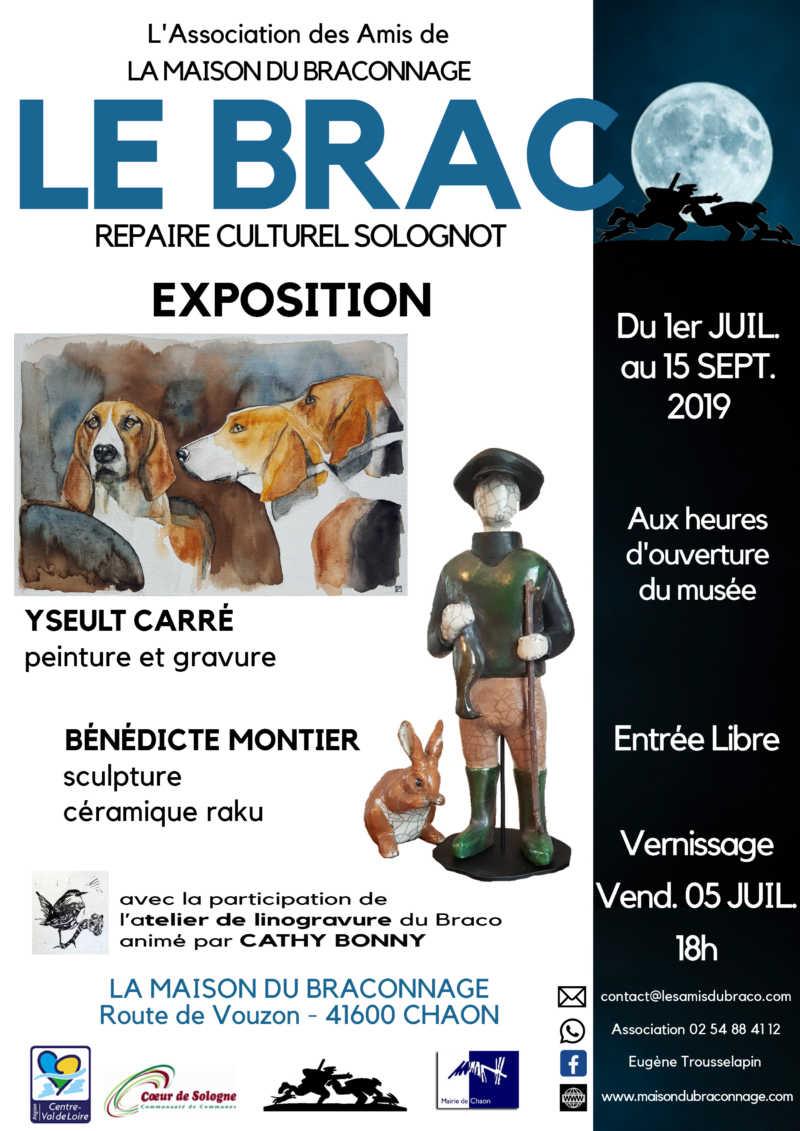 Exposition estivale à la Maison du Braconnage en Sologne : Yseult Carré peinture et gravure - Bénédicte Montier sculpture